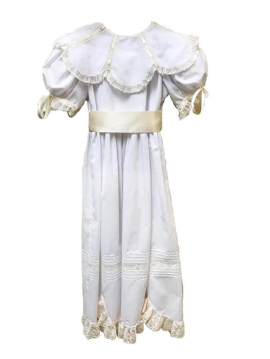Treasured Memories White Dress w/ Ecru Lace, Ribbon & Tie at Waist S1818 W/E