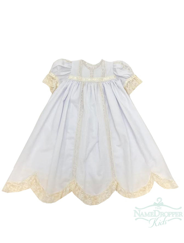 Treasured Memories White/Ecru Dress W/Skirt Liner F1998