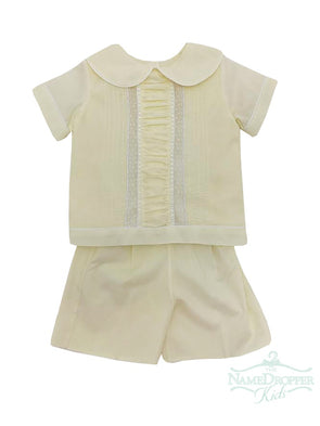 Treasured Memories Yellow W/White Lace Beading and White Piping Boys 2pc Short Set  XX512