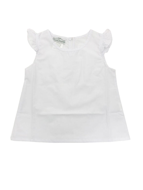 Name Dropper PL White Broadcloth Angel Wing Blouse