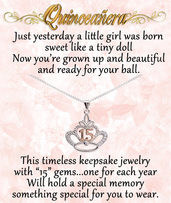 Cherished Moments Quinceanera Crown Necklace Gift Set 16-18""