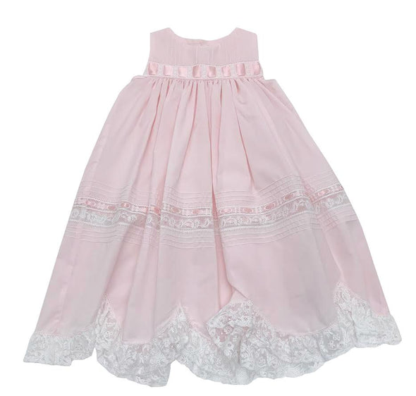 Treasured Memories Pink Sleeveless Dress w/ Pink Ribbon Insertion & White Lace 1908 PK/WH