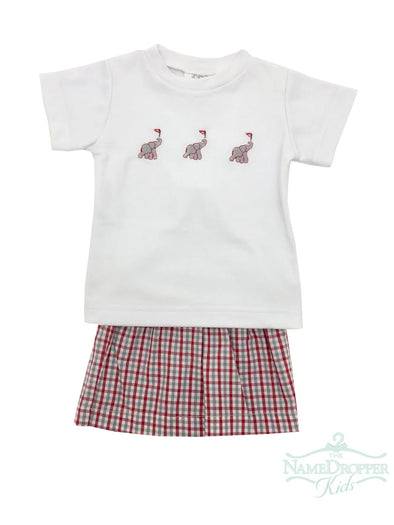 Lulu Bebe Elephant Emb Short Set Red/Grey Gingham TOM-BAMA
