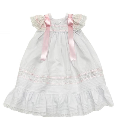 Treasured Memories White Angel Sleeve Dress w/ Pink Ribbon & White Lace 1632 WH/WH/PK