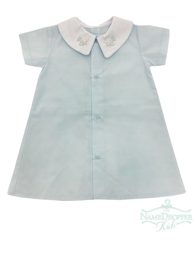 Auraluz Daygown Blue Planes with Boy Collar and Button Front 306BBLPLA