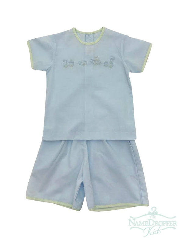 Auraluz 2PC Boys Suit Blue/Green With Wagon 5809