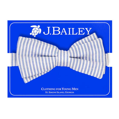 J. Bailey Sailor Blue Seersucker Bow Tie 1013-Johnny-SBS