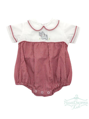 Lullaby Set Red Mini Gingham Boy Bubble w/ Elephant Embroidery V-ELEPH-A