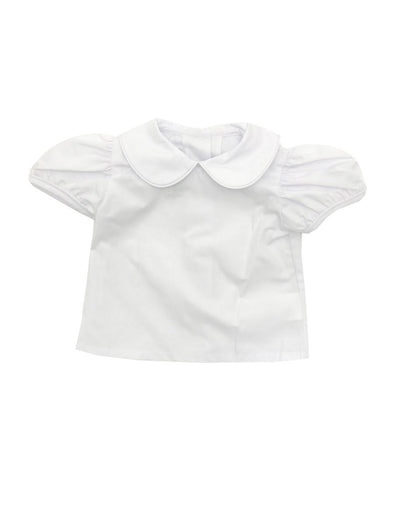 Name Dropper Pl Basic Girl Peter Pan Blouse w/White Piping  ZBS19-PPIGBASS_WWPH