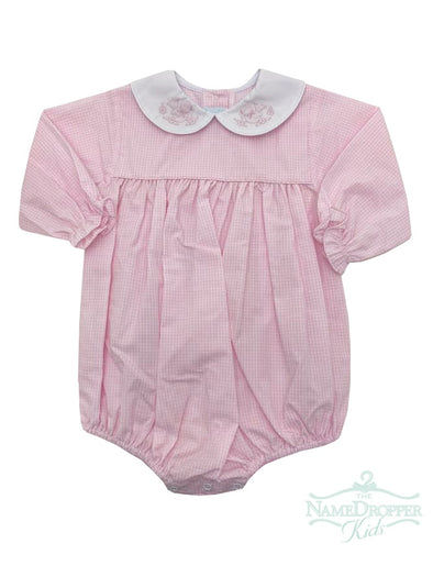 Auraluz Pink Check Bubble W/Bird Shadow Embroidery on Collar 7601