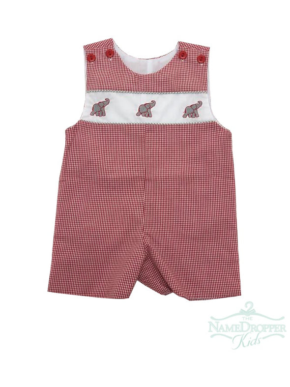 Lulu Bebe Elephant Emb Shortall Red/Grey Gingham Pete-BAMA
