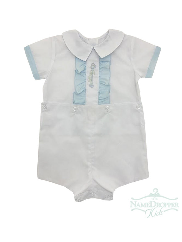 Auraluz White Boy Suit With Blue Trim and Stick Horse Shadow Embroidery 5028