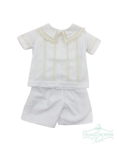 Treasured Memories White W/Ecru Lace and Beading Boys Short Set F1999