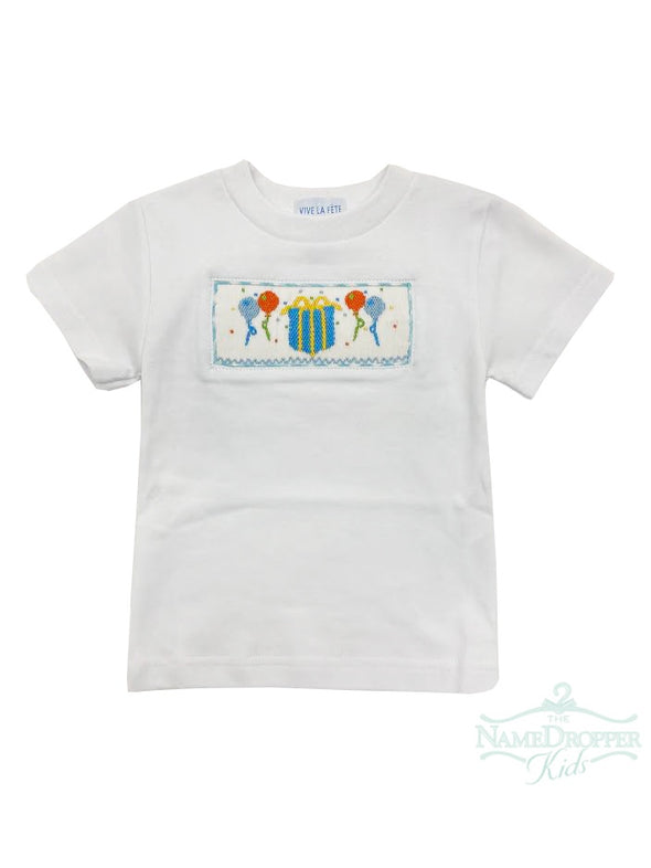 Vive La Fete Birthday Smocked White Knit Boys Tee Short Sleeve T492B