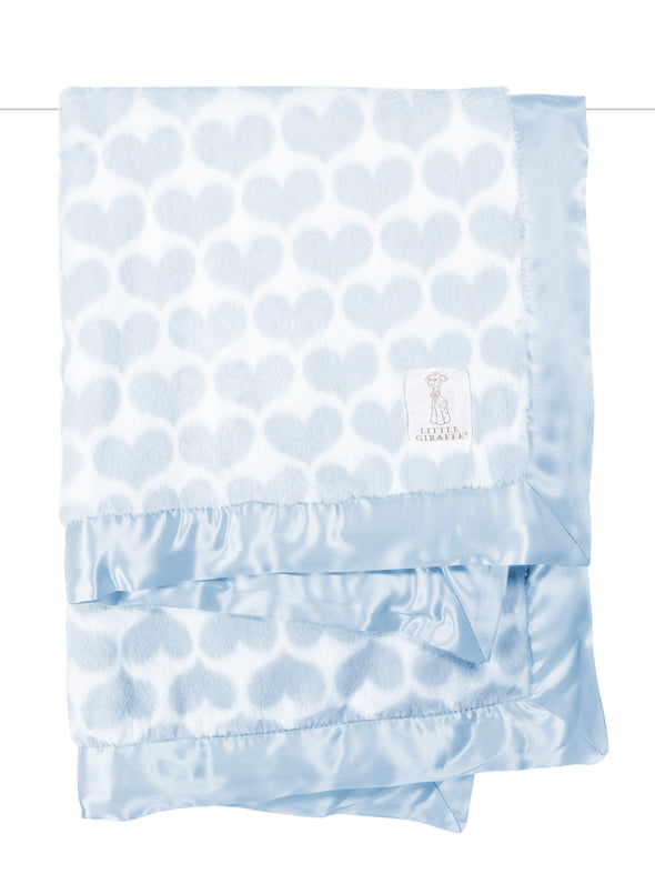 Little Giraffe Luxe Heart Army Baby Blanket