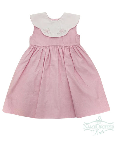 Auraluz Pink Gingham Dress W/White Scalloped Collar Bow Shadow Embroidery 2291