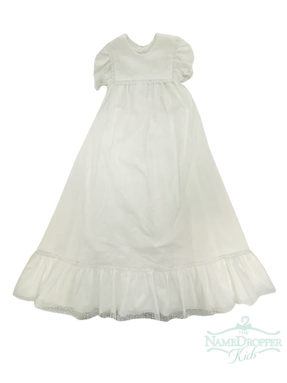 Auraluz Christening Gown/Slip White with Flowers 892G-WHSFL
