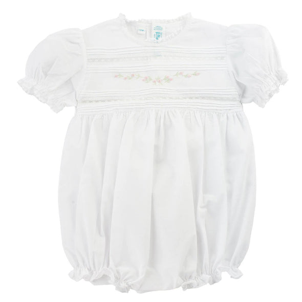 Feltman Brothers 770 White  Floral Bullions and Lace Romper