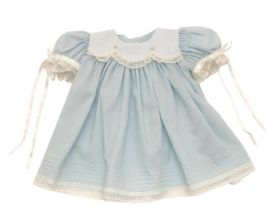 Treasured Memories Blue Dress w/ Blue Rosettes & Ecru Lace/Ribbon 19022 BL/EC