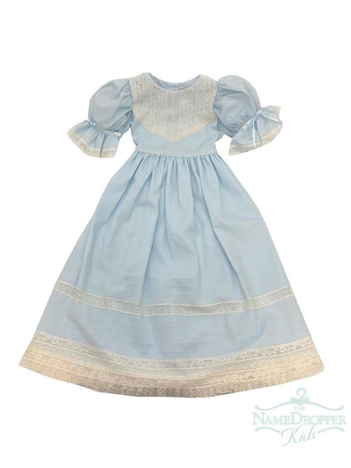 Treasured Memories Blue Dress W/Ecru Lace V Bodice Waist Tie W/Ecru Lace and Ecru Beading F1986