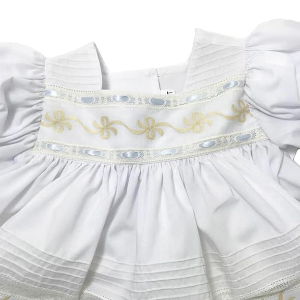 Treasured Memories White Dress w/ Ecru Lace, Ribbon Embroidery & Blue Ribbon S1802 WH/EC