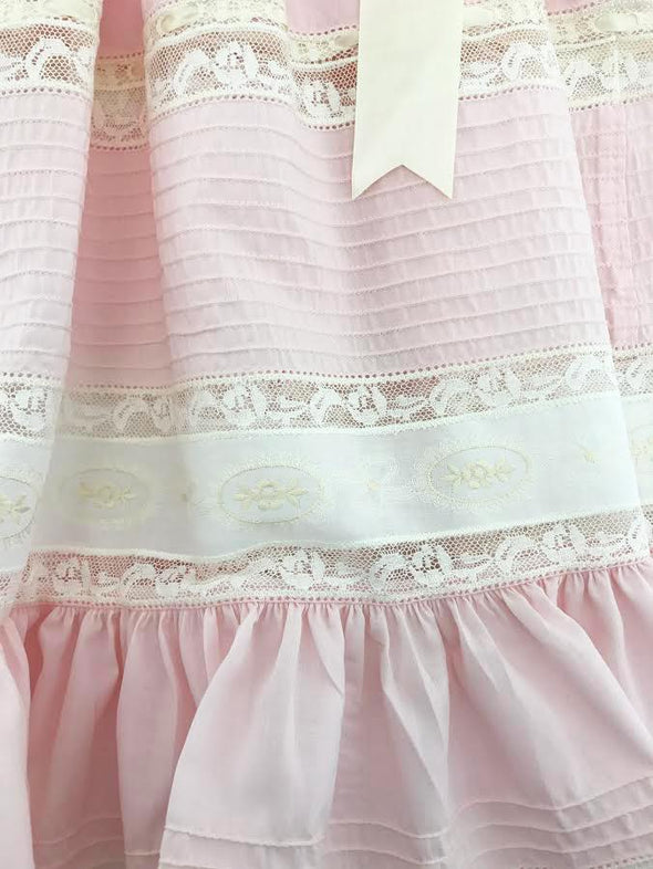 Treasured Memories Pink Dress w/ Ecru Lace & Large Ecru Satin Ribbon 1630 PINK/ECRU