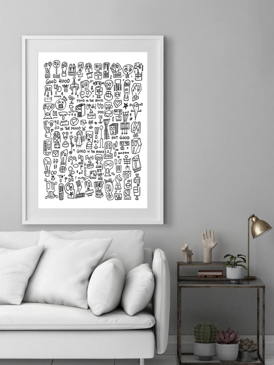 Raul street art abstract print black and white graffiti style