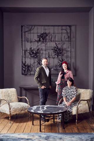 Christopher Cox, Rachel Chudley and Nicola Cox in VIP lounge that they created and curated at Crafts Council Collect 2020. Cox London. AlunCallenderPhoto_