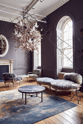 Cox London's new work (incl Magnolia Chandelier, Dada Sofa, Rig Table, Gunnera Table) in VIP Lounge curated by Rachel Chudley at Crafts Council Collect 2020. AlunCallenderPhoto_