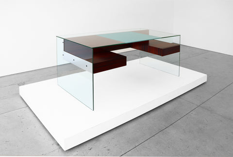 Glass and wood Desk by Antoine Philippon and Jacqueline Lecoq (1960) at Peter Blake Gallery, Design Miami