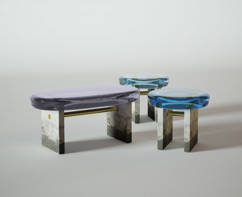 Draga & Aurel_Golia bench and coffee tables Nomade Circle