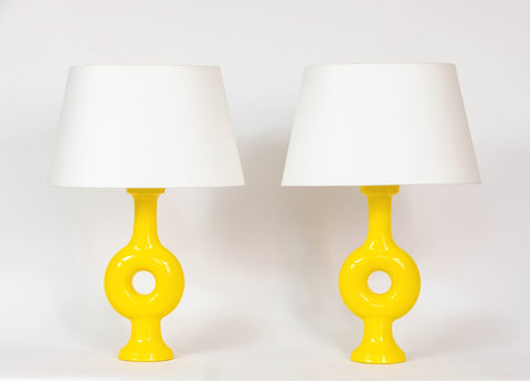 Pair of Annulaire Vase Lamps (yellow) by Suzanne Ramié and Madoura Studio (1960) courtesy of Lebreton Gallery