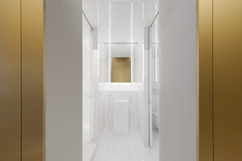 Jean Verville architecure, interior design, brass, minimalism, bathroom design, bathrooms, lighting, white