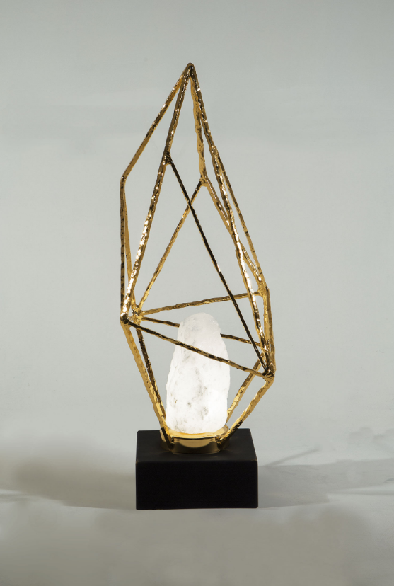 Natural Stone Table Light Diffuser - solid bronze & 24K gold detailing