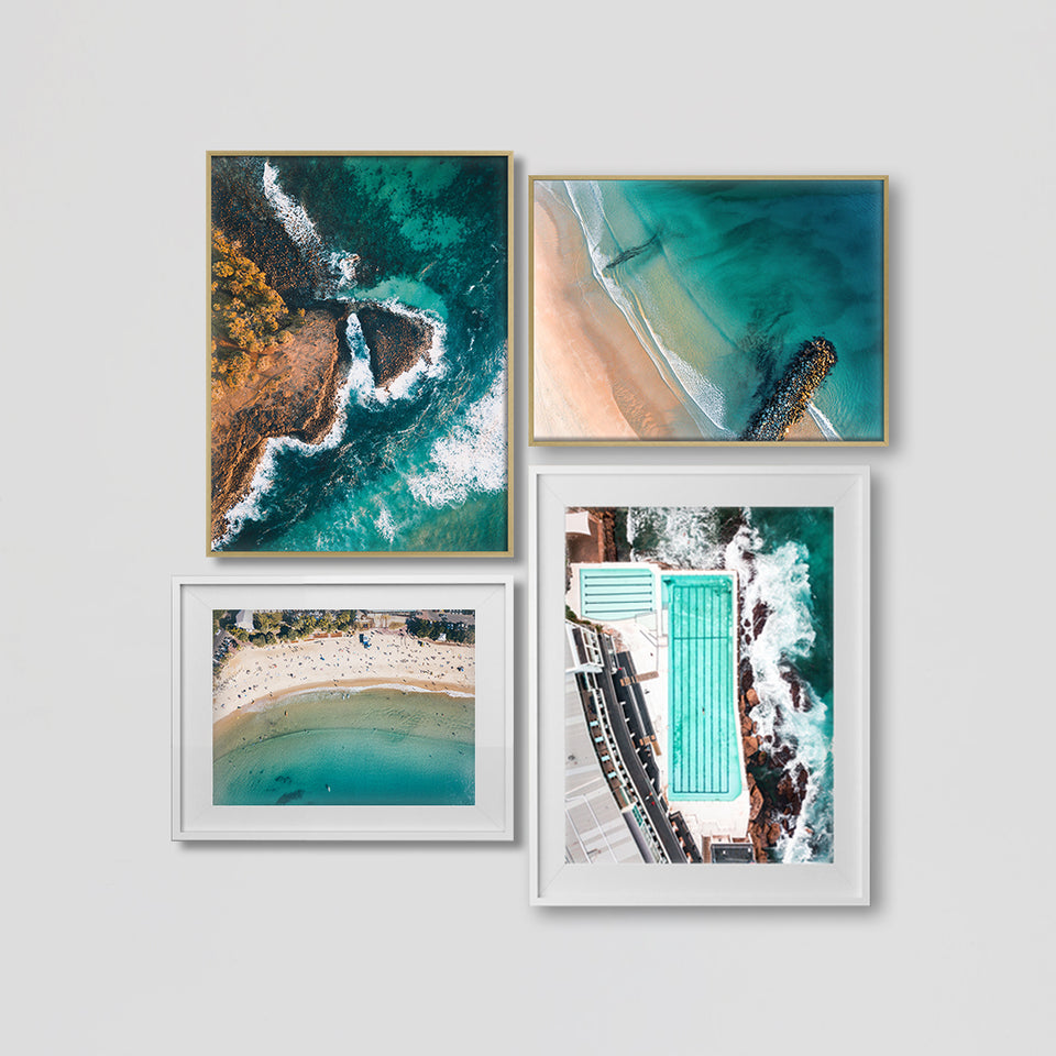 Aerial Ocean drone coastal Photography print of beach and surf