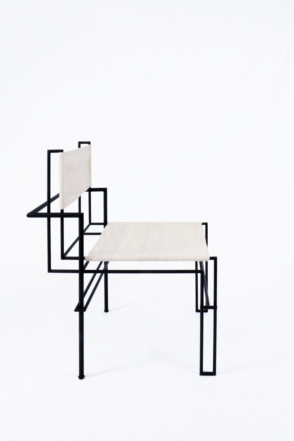 Design Disrupters Casbah black metal chair frame white leather
