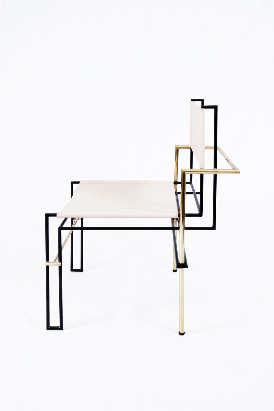 Design Disrupters Casbah brass, black metal chair frame, white leather