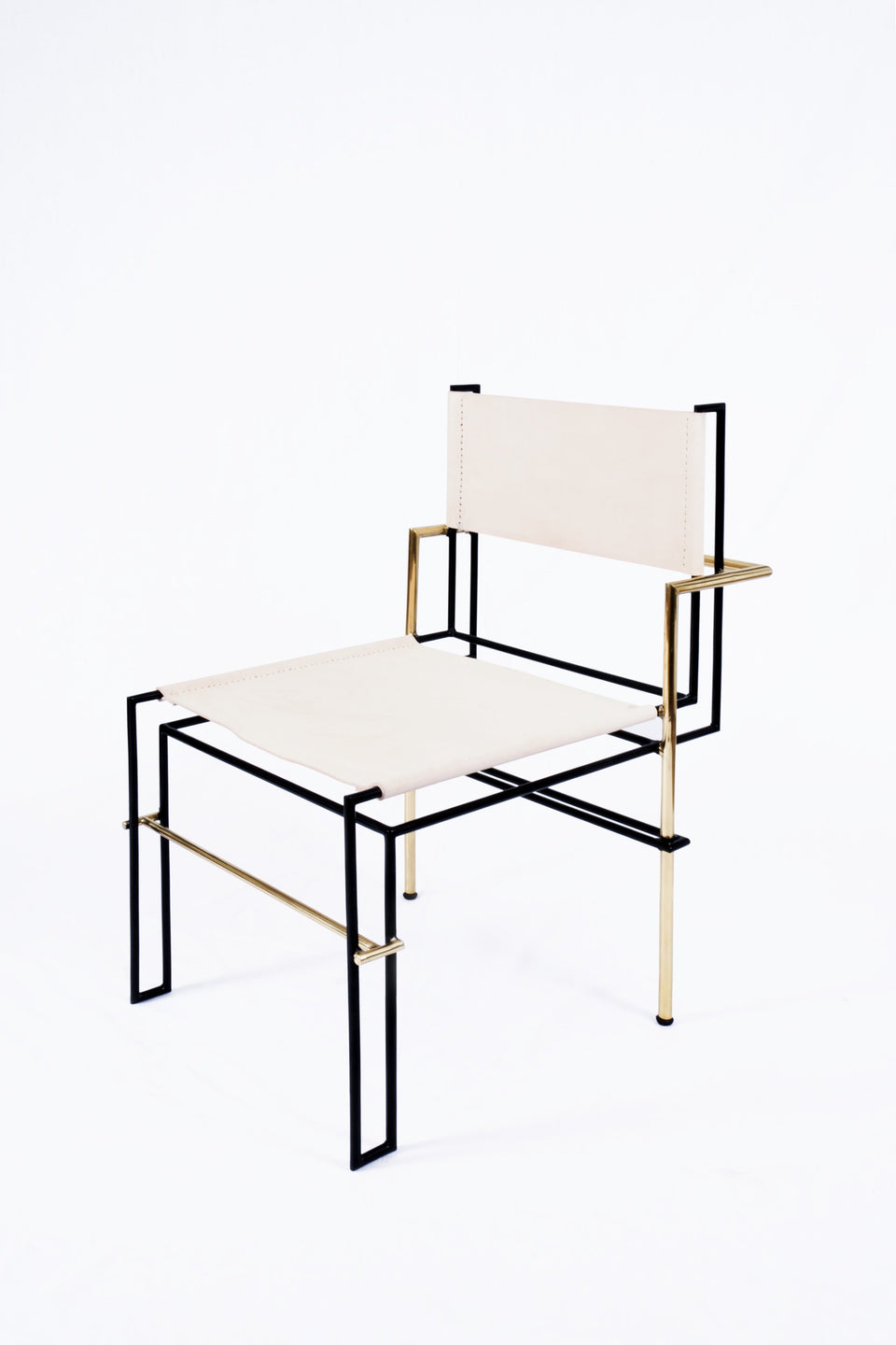 Design Disrupters Casbah brass, black metal chair frame white leather