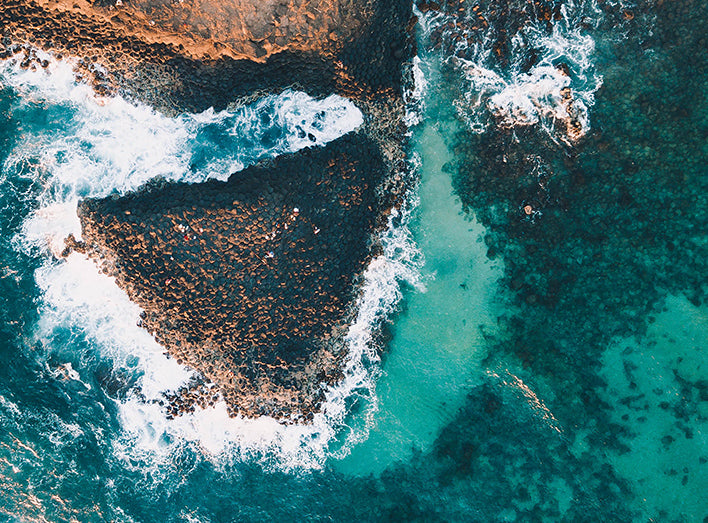 Fingal Head, Australian Aerial Ocean Drone Photography Prints by Jess Lowis