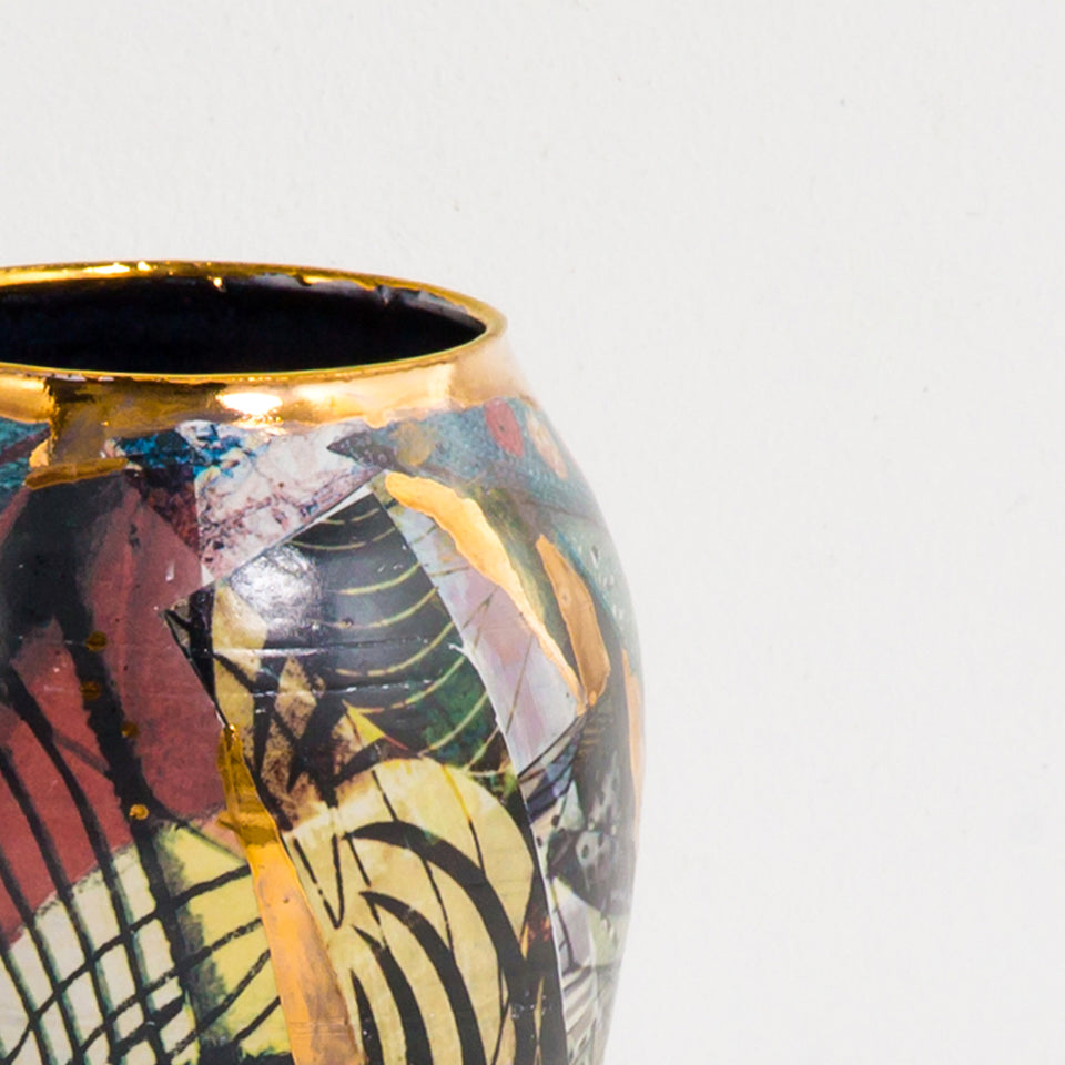 Design Disrupters ceramic multicoloured vase with gold leaf