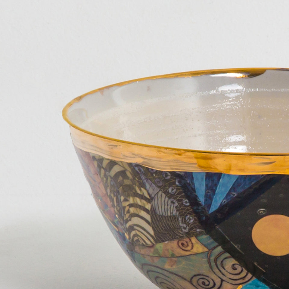 Design Disrupters ceramic multicoloured bowl with gold leaf