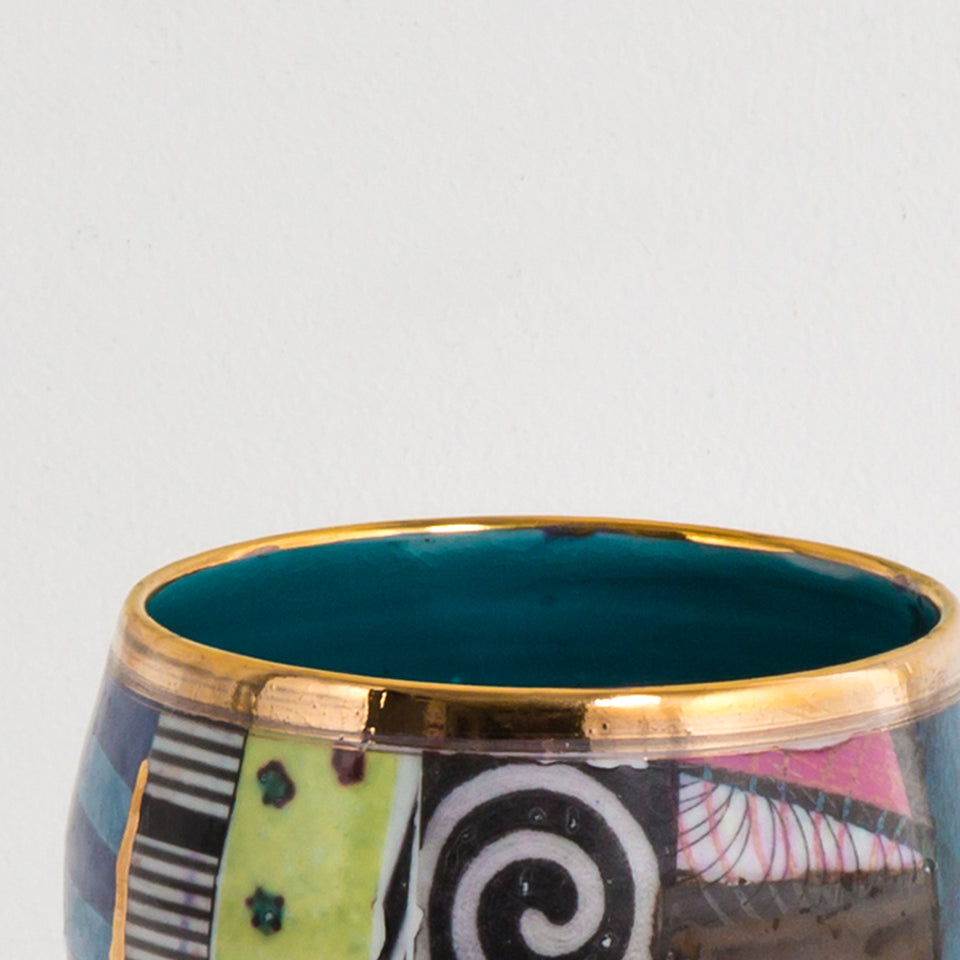 Design Disrupters ceramic multicoloured small bowl, gold leaf