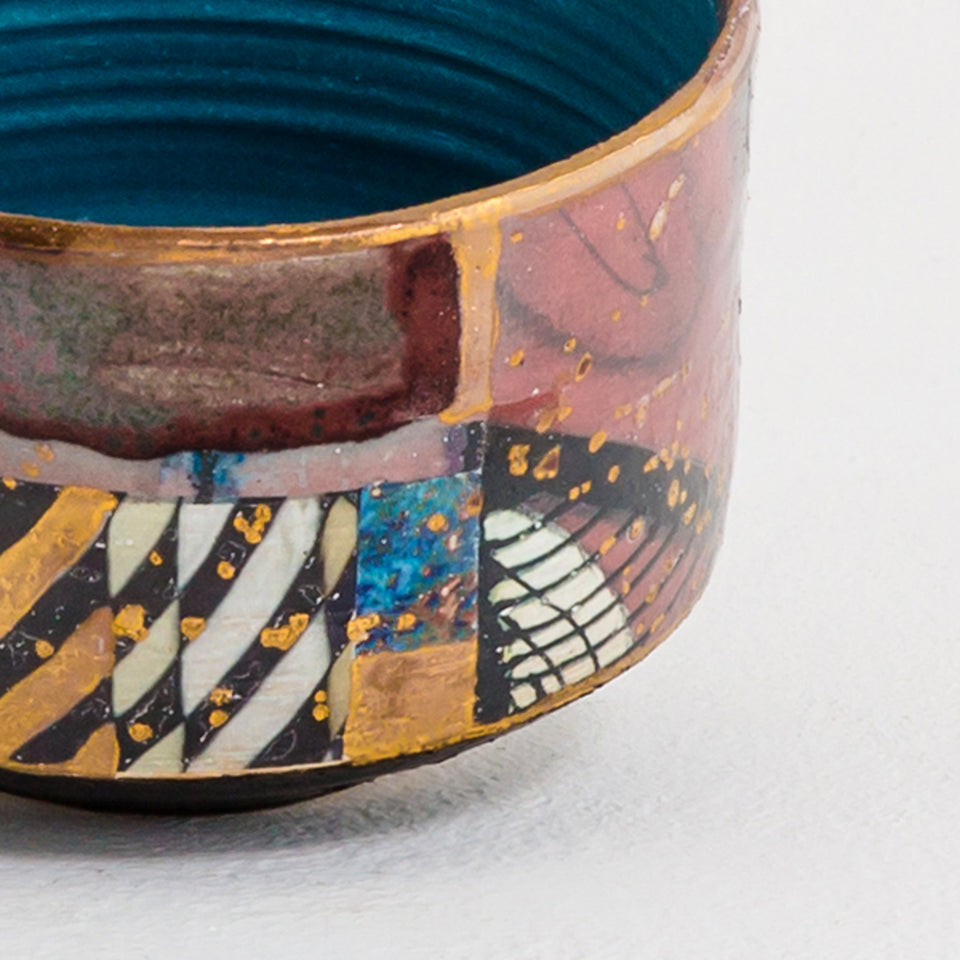 Design Disrupters ceramic multicoloured bowls with gold leaf
