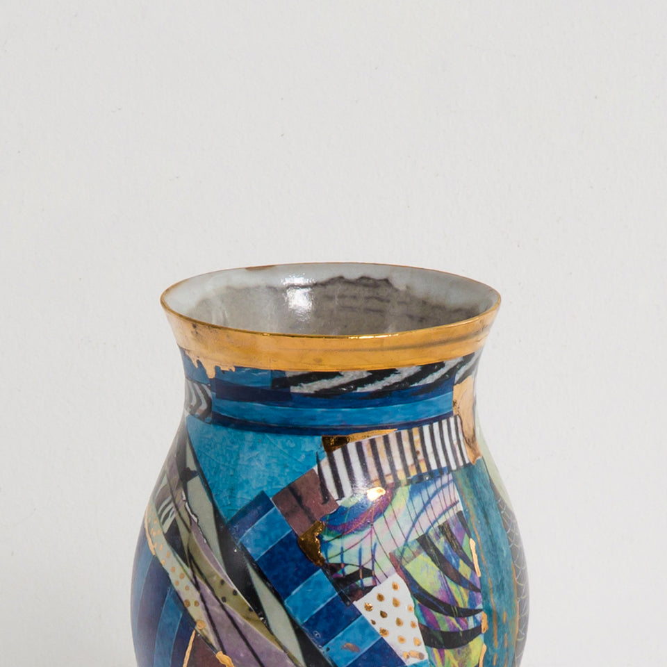 Design Disrupters ceramic multicoloured blue tulip vase with gold leaf