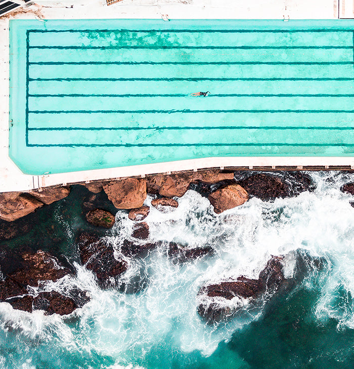 Ariel photograph of Bondi beach, Iceberg pools, Australia.