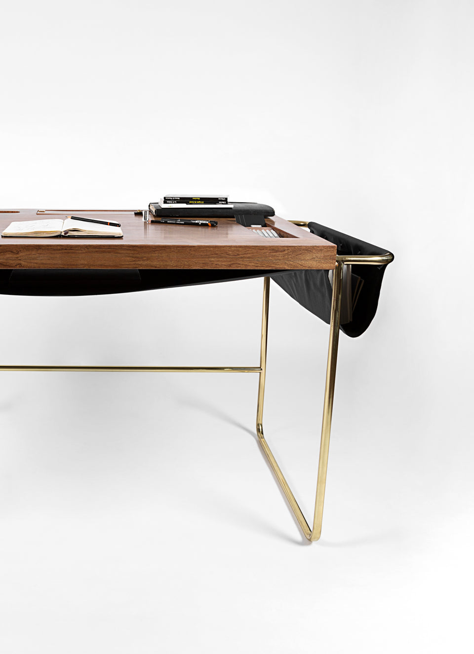 CASA.BLANCA office desk in solid walnut with brass & black leather detailing