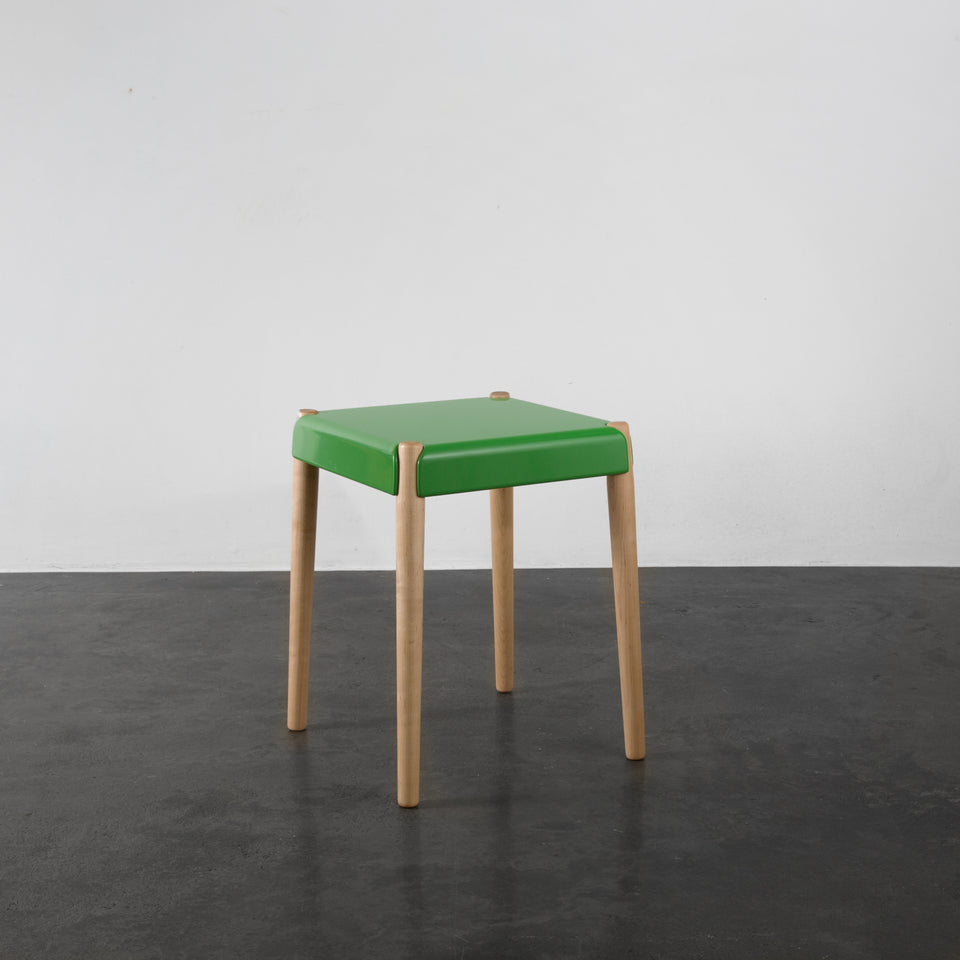 Peg stool by bright potato available from by Anna Paganelli pink, white, black, white, mustard yellow green and grey