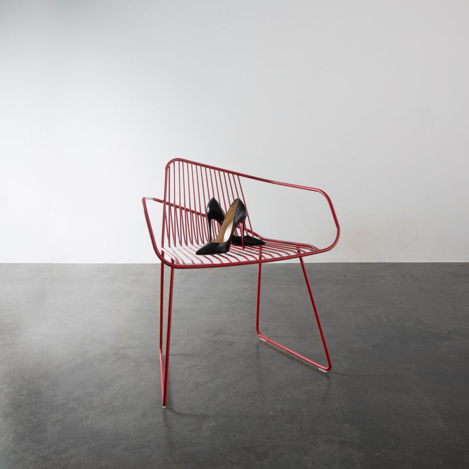 Bright potato Red wireframe chair, bedroom, livingroom, kitchen, interior, louis boution