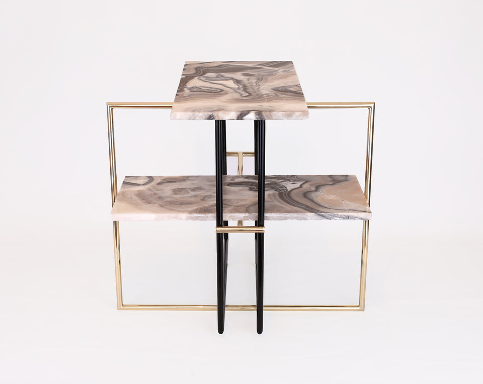Design Disrupters Una side table in pinky red onyx with black and brass