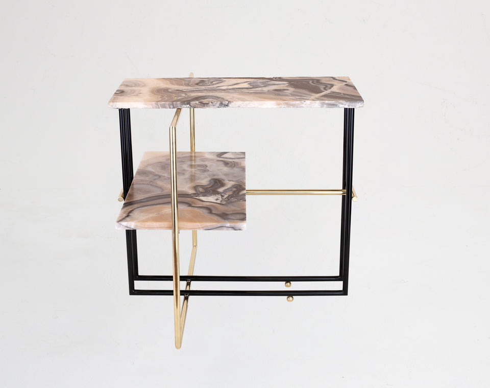 UÑA Side Table in Red Onyx by Nomade Atelier from by Anna Paganelli